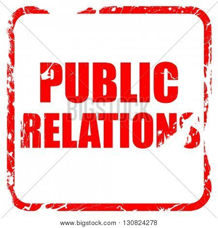 public relations, red rubber stamp with grunge edges