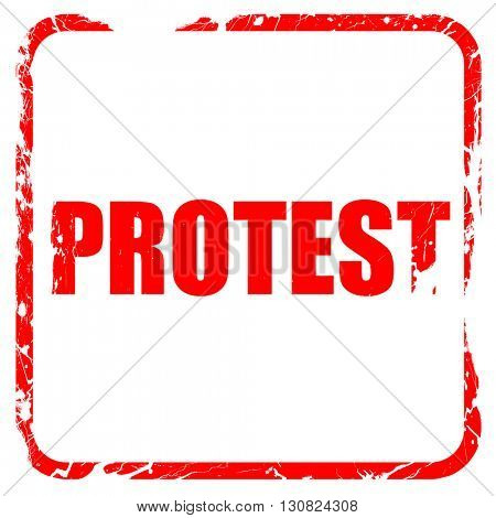 protest, red rubber stamp with grunge edges