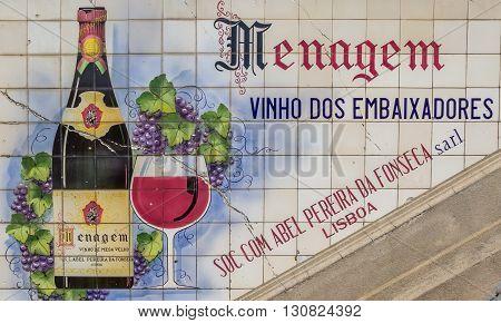 PORTO, PORTUGAL - APRIL 21, 2016: Add in tiles for Portuguese wine on a market in Porto, portugal