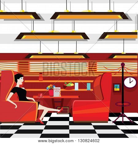 vector illustration of a flat graphic designed old styled diner with a lady sitting by the table