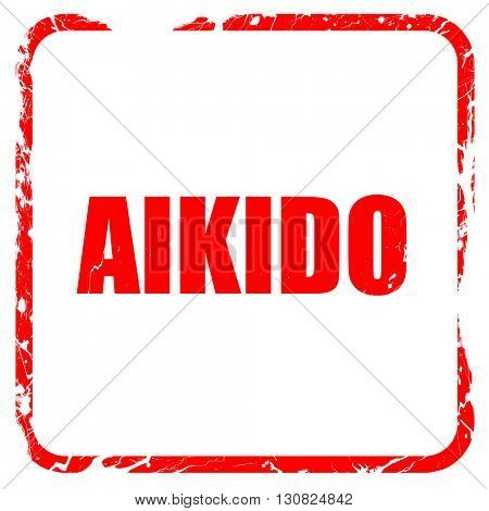aikido sign background, red rubber stamp with grunge edges