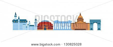 Famous Europe places vector illustration.