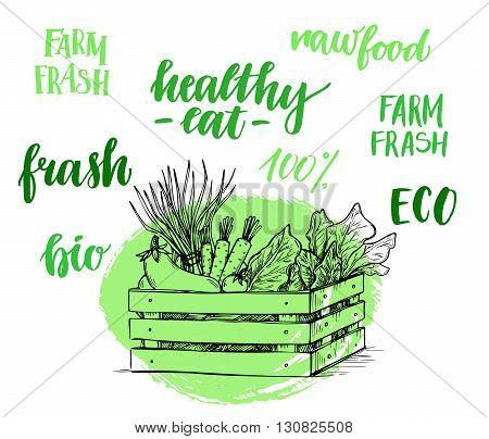 Hand drawn vector illustration - Fresh vegetables. Supermarket. Grocery store. Organic and vegan food. Set of organic food labels