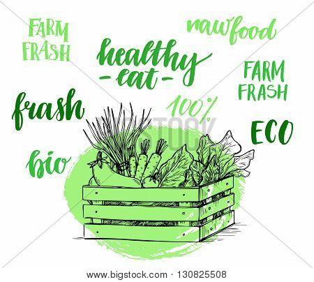 Hand drawn vector illustration - Fresh vegetables. Supermarket. Grocery store. Organic and vegan food. Set of organic food labels