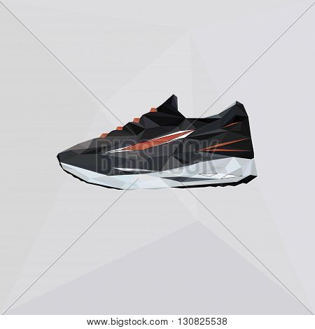 Vector shoes for running. Illustration sport shoes in polygon style. Triangle logo footwear. Isolated sneaker in low poly background. Silhouette shoe icon.