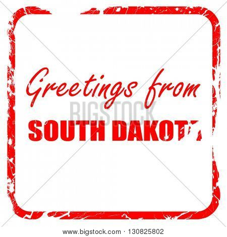 Greetings from south dakota, red rubber stamp with grunge edges