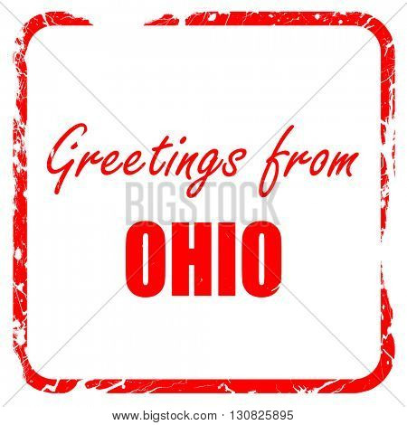 Greetings from ohio, red rubber stamp with grunge edges
