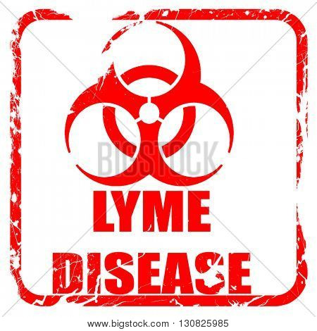 Lyme virus concept background, red rubber stamp with grunge edge