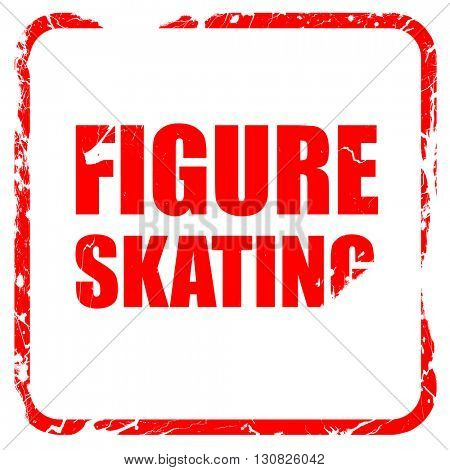 figure skating sign background, red rubber stamp with grunge edg
