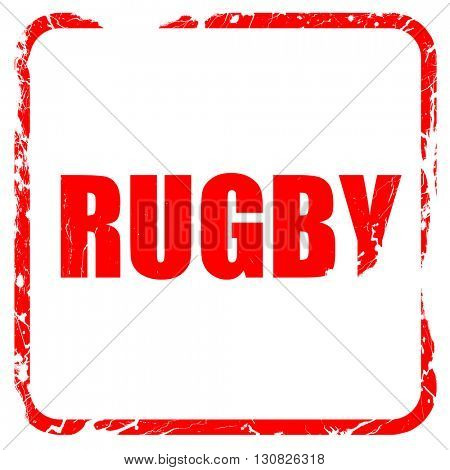 rugby sign background, red rubber stamp with grunge edges