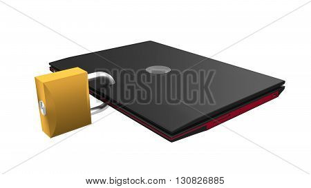 Isolated secured laptop notebook 3d render illustration