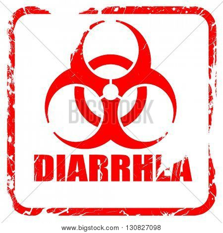 Diarrhea concept background, red rubber stamp with grunge edges