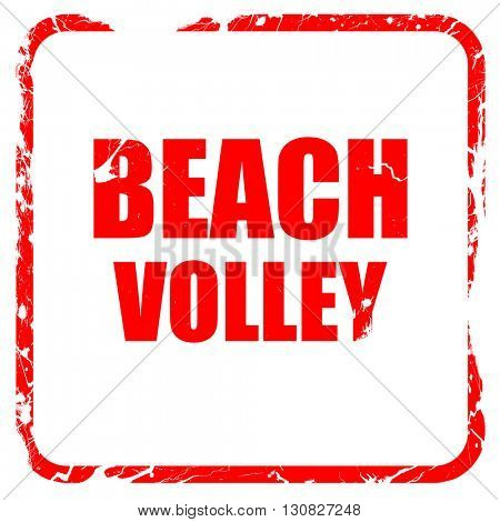 beach volley sign, red rubber stamp with grunge edges