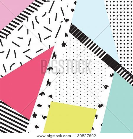Memphis color blocks and dash elements backdrop design. Black and white 80s 90s retro style.