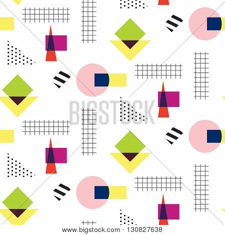 Memphis retro 80s seamless pattern. Checkered lines, abstract shapes, color blocks and dash dots elements in eighties fashion style. Circles and checkered squares.