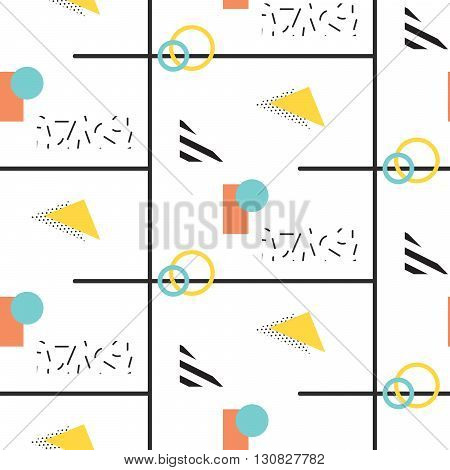 Memphis retro 80s seamless pattern. Checkered lines, abstract shapes, color blocks and dash dots elements in eighties fashion style. Black lines and abstract pop shapes.
