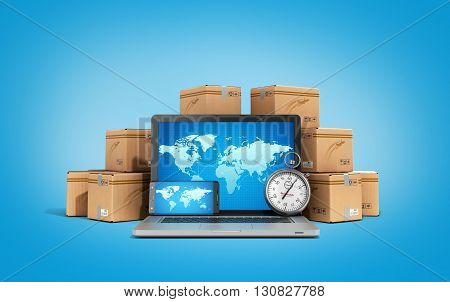 Cardboard Boxes Package Parcels And Laptop - Logistic, Cargo, Delivery, And Shipping Concept 3D Rend