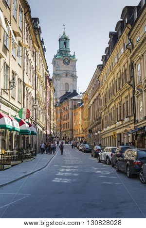 STOCKHOLM - MAY 20 :Church of St. Nicholas is the oldest church in Gamla Stan the old town in central Stockholm Sweden on May 20 2016.