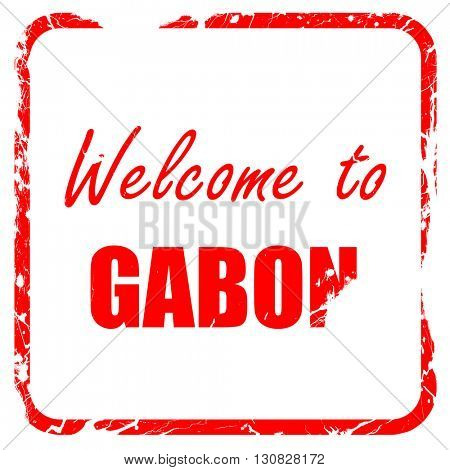 Welcome to gabon, red rubber stamp with grunge edges