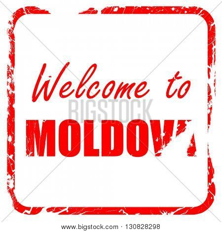 Welcome to moldova, red rubber stamp with grunge edges