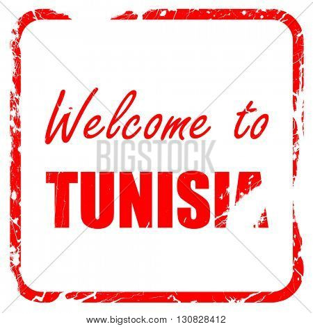 Welcome to tunisia, red rubber stamp with grunge edges