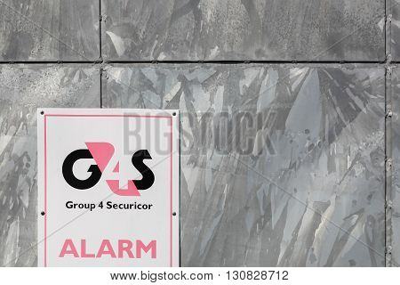 Tilst, Denmark - May 16, 2016: G4S logo on a wall. G4S is a British multinational security services company headquartered in central London and It is the world's largest security company.