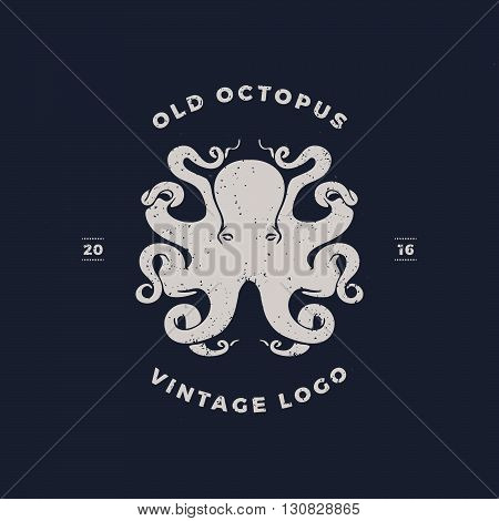 old octopus vintage invert silhouette, Template for logo, labels and emblems