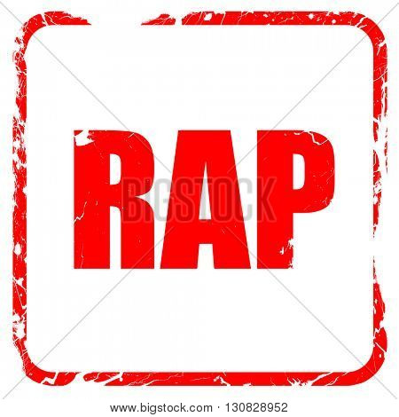 rap music, red rubber stamp with grunge edges