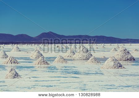 Salt flats on Bolivian Altiplano.