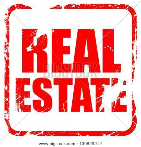 real estate, red rubber stamp with grunge edges