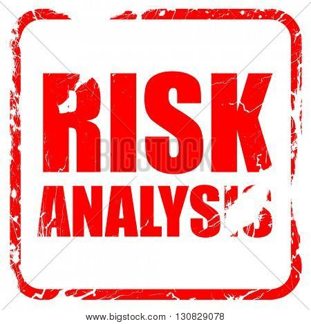 risk analysis, red rubber stamp with grunge edges