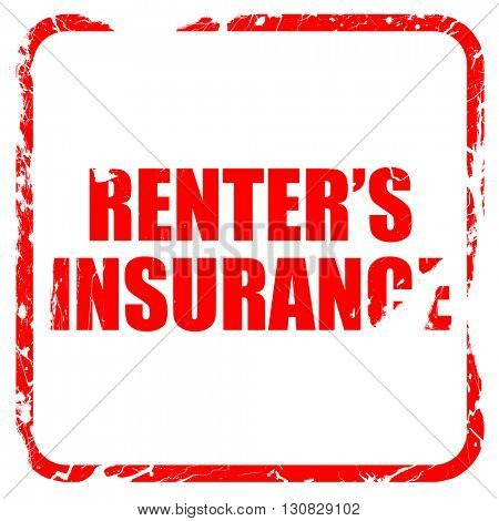 renter's insurance, red rubber stamp with grunge edges