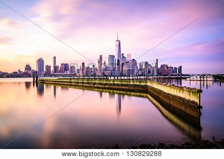 Beautiful sunrise view of Downtown Manhattan shot from Jersey City