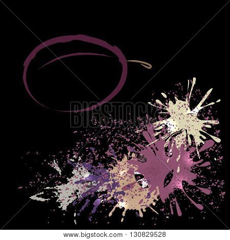 Colored outline of plum with watercolor blots isolated on a black background. Hand-drawn sketch. Art vector illustration for your design. EPS10