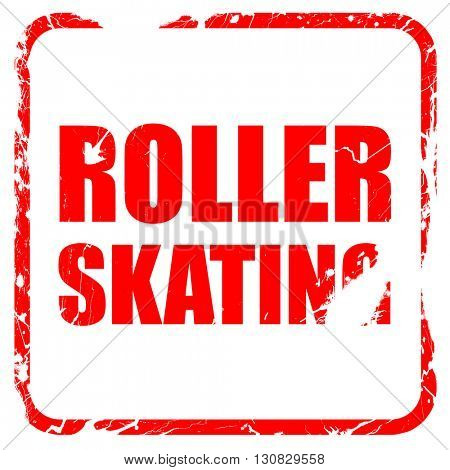 roller skating, red rubber stamp with grunge edges