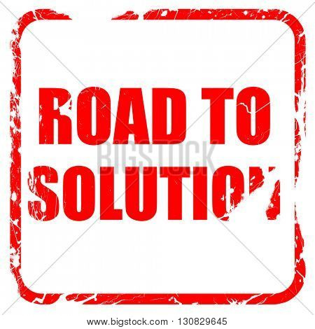 road to solution, red rubber stamp with grunge edges