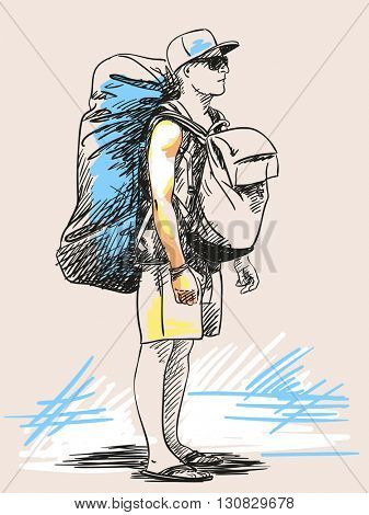 Sketch of young man standing with backpack, Hand drawn illustration