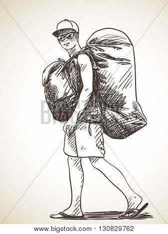 Sketch of young man walking with backpack, Hand drawn illustration