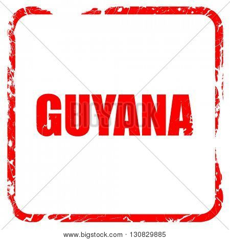 Greetings from guyana, red rubber stamp with grunge edges