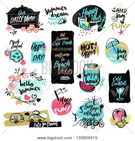 Set of hand drawn watercolor labels and badges of summer. Vector illustrations for summer holiday, travel and vacation, restaurant and bar, menu, sea and sun, beach vacation and party.