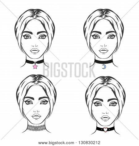 Choker set vector isolated. Necklace with symbol