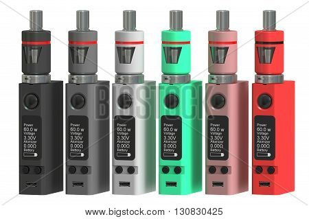 Box Mods Electronic cigarettes 3D rendering isolated on white background