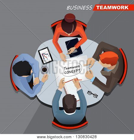 Business meeting and brainstorming. Top view. Flat design