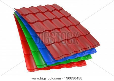 Color Metal Roof Tiles 3D rendering isolated on white background