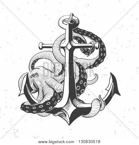 anchor with octopus on white hand drawn vintage illustration