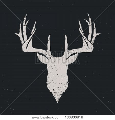 Deer head invert silhouette hand drawn vintage illustration