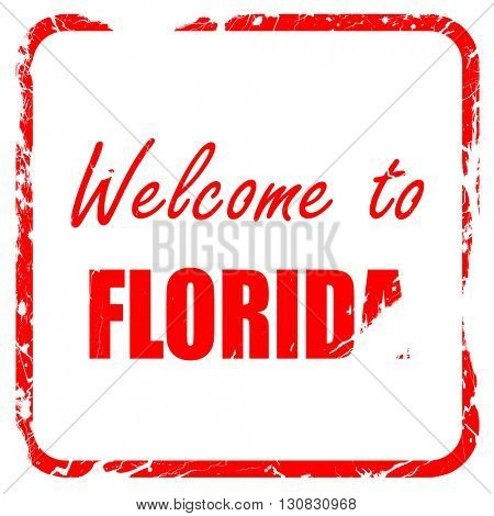 Welcome to florida, red rubber stamp with grunge edges