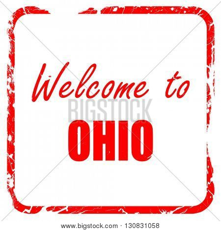 Welcome to ohio, red rubber stamp with grunge edges
