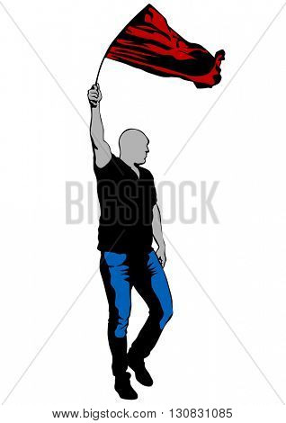 People with big flag on white background
