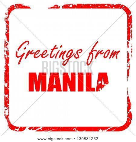Greetings from manila, red rubber stamp with grunge edges